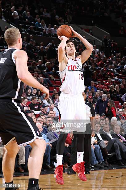 Victor Claver of the Portland Trail Blazers shoots against the Brooklyn Nets on February 26 2014 at the Moda Center Arena in Portland Oregon NOTE TO...