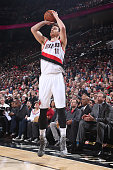 Victor Claver of the Portland Trail Blazers shoots against the New York Knicks on December 28 2014 at the Moda Center in Portland Oregon NOTE TO USER...