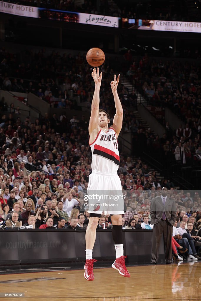 <a gi-track='captionPersonalityLinkClicked' href=/galleries/search?phrase=Victor+Claver&family=editorial&specificpeople=5562510 ng-click='$event.stopPropagation()'>Victor Claver</a> #18 of the Portland Trail Blazers shoots against the Utah Jazz on March 29, 2013 at the Rose Garden Arena in Portland, Oregon.
