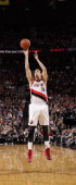 Victor Claver of the Portland Trail Blazers shoots the ball during the game against the Los Angeles Clippers on April 16 2014 at the Moda Center...