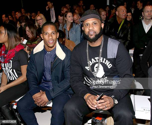 Victor Cruz and CC Sabathia front row at Nike/Levi's Kids Rock during MercedesBenz Fashion Week Fall 2015 at The Salon at Lincoln Center on February...