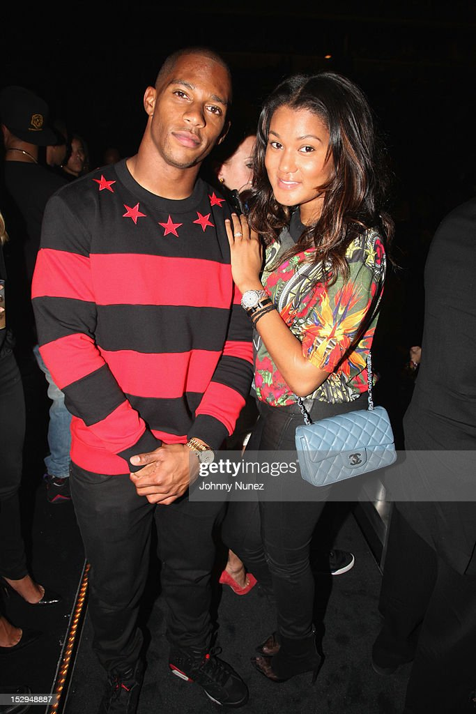 Victor Cruz and Elaina Watley attend the exclusive D'USSE VIP Lounge at Barclays Center on September 28, 2012 in New York City.