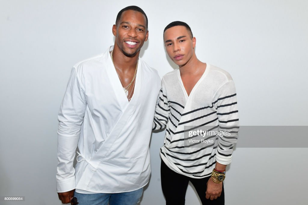 Victor Cruz and Olivier Rousteing attend the Balmain Menswear Spring/Summer 2018 show as part of Paris Fashion Week on June 24, 2017 in Paris, France.