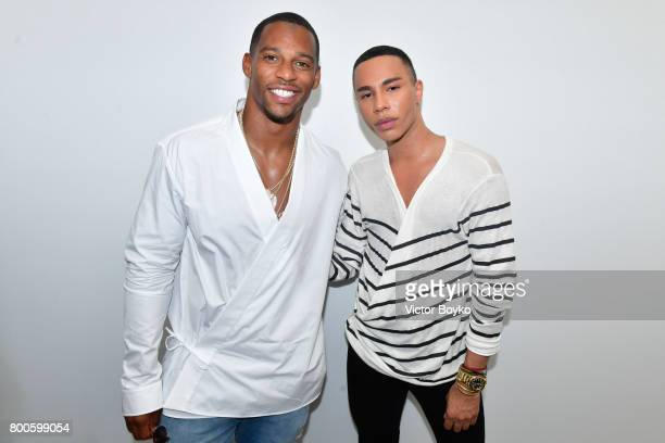 Victor Cruz and Olivier Rousteing attend the Balmain Menswear Spring/Summer 2018 show as part of Paris Fashion Week on June 24 2017 in Paris France
