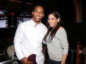 Victor Cruz and Sharon Carpenter attend the 'Welcome To New York' party presented by Roc Nation Sports Airbnb at the 40/40 Club on January 29 in New...