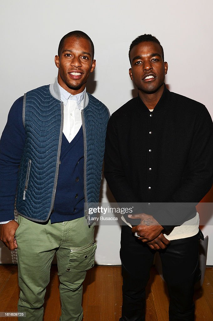 Victor Cruz and singer Luke James attend the after party following the premiere of the HBO Documentary Film 'Beyonce: Life Is But A Dream' at Christie's on February 12, 2013 in New York City.