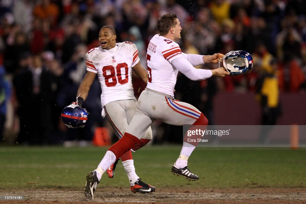 <a gi-track='captionPersonalityLinkClicked' href=/galleries/search?phrase=Victor+Cruz+-+American+Football+Player&family=editorial&specificpeople=8736842 ng-click='$event.stopPropagation()'>Victor Cruz</a> #80 and Steve Weatherford #5 of the New York Giants celebrate after they won 20-17 in overtime against the San Francisco 49ers during the NFC Championship Game at Candlestick Park on January 22, 2012 in San Francisco, California.