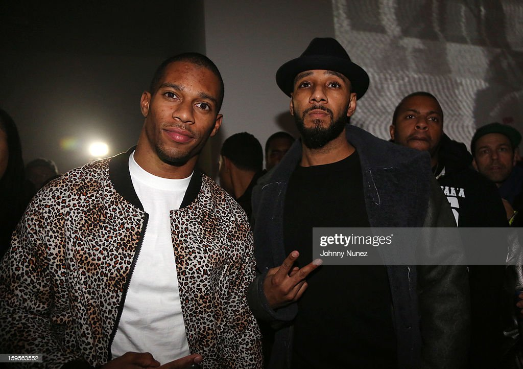 Victor Cruz and Swizz Beatz attend A$AP Rocky's 'LOVE.LIVE.A$AP' Album Release Party at The Hole on January 15, 2013 in New York City.