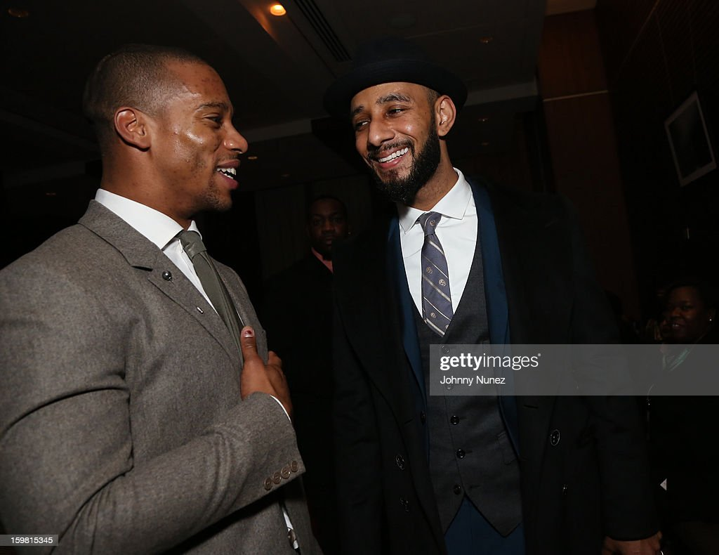 <a gi-track='captionPersonalityLinkClicked' href=/galleries/search?phrase=Victor+Cruz+-+American+Football+Player&family=editorial&specificpeople=8736842 ng-click='$event.stopPropagation()'>Victor Cruz</a> and <a gi-track='captionPersonalityLinkClicked' href=/galleries/search?phrase=Swizz+Beatz&family=editorial&specificpeople=567154 ng-click='$event.stopPropagation()'>Swizz Beatz</a> attend The Hip-Hop Inaugural Ball II at Harman Center for the Arts on January 20, 2013 in Washington, DC.