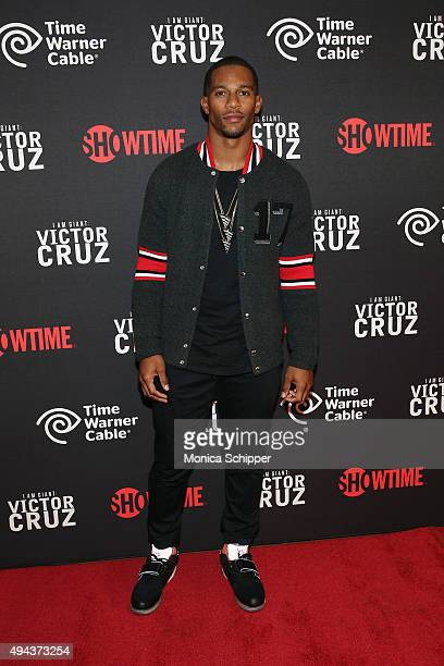 Victor Cruz attends 'I Am A Giant Victor Cruz' New York Screening at Crosby Street Hotel on October 26 2015 in New York City
