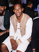 Victor Cruz attends the front row at the Michael Bastian fashion show during New York Fashion Week Men's S/S 2016 at Skylight Clarkson Sq on July 15...