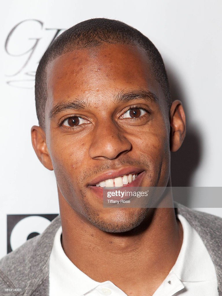 Victor Cruz attends the GBK & Cartoon Network's Official Backstage Thank You Lounge at Barker Hangar on February 9, 2013 in Santa Monica, California.