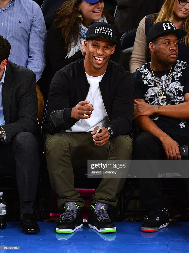 Victor Cruz attends the Golden State Warriors vs New York Knicks game at Madison Square Garden on February 27, 2013 in New York City.