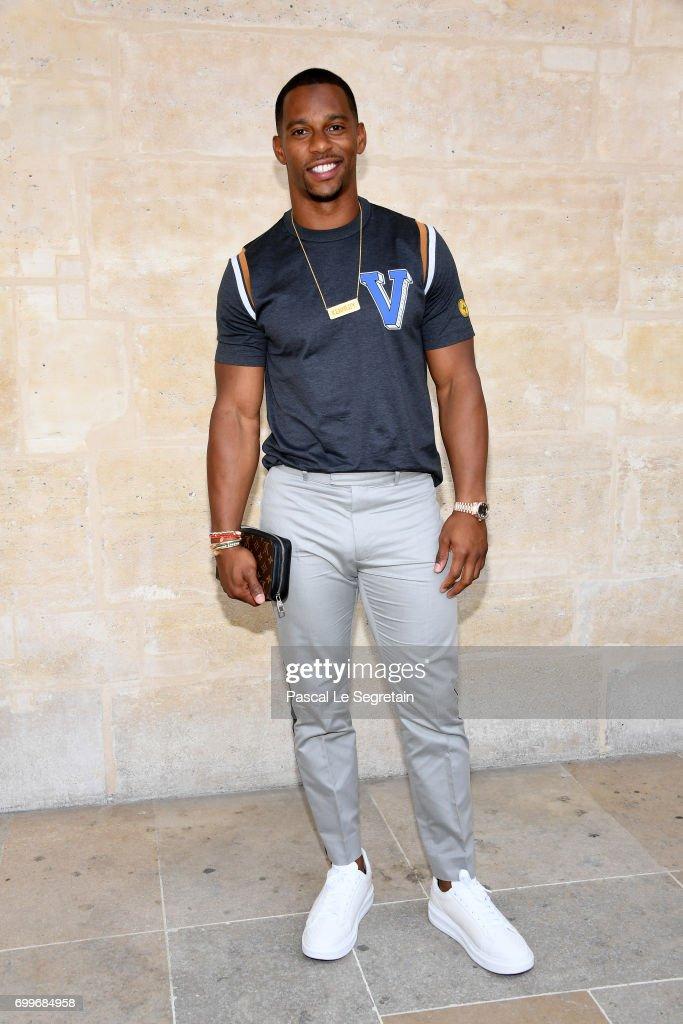 Victor Cruz attends the Louis Vuitton Menswear Spring/Summer 2018 show as part of Paris Fashion Week on June 22, 2017 in Paris, France.
