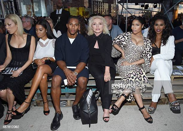 Victor Cruz Debbie Harry Nicki Minaj and June Ambrose attend the Givenchy fashion show during Spring 2016 New York Fashion Week at Pier 26 at Hudson...