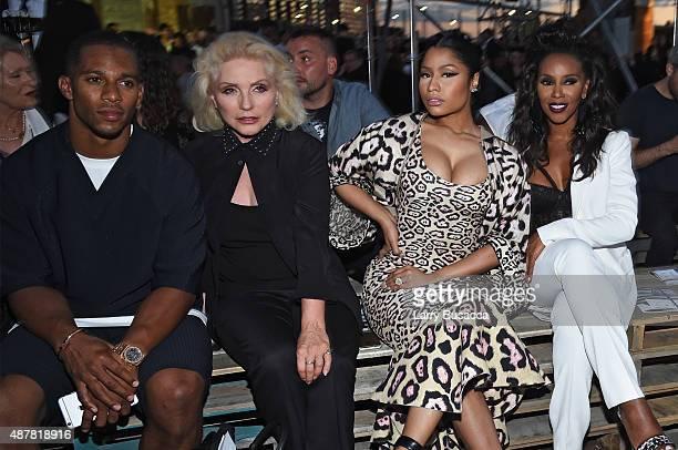 Victor Cruz Debbie Harry Nicki Minaj and June Ambrose attend the Givenchy fashion show during Spring 2016 New York Fashion Week at Pier 26 at Hudson...