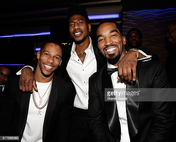 Victor Cruz Iman Shumpert and JR Smith attend the 1st Annual Casino Night hosted by JR Smith at Stage 48 on March 25 2016 in New York City