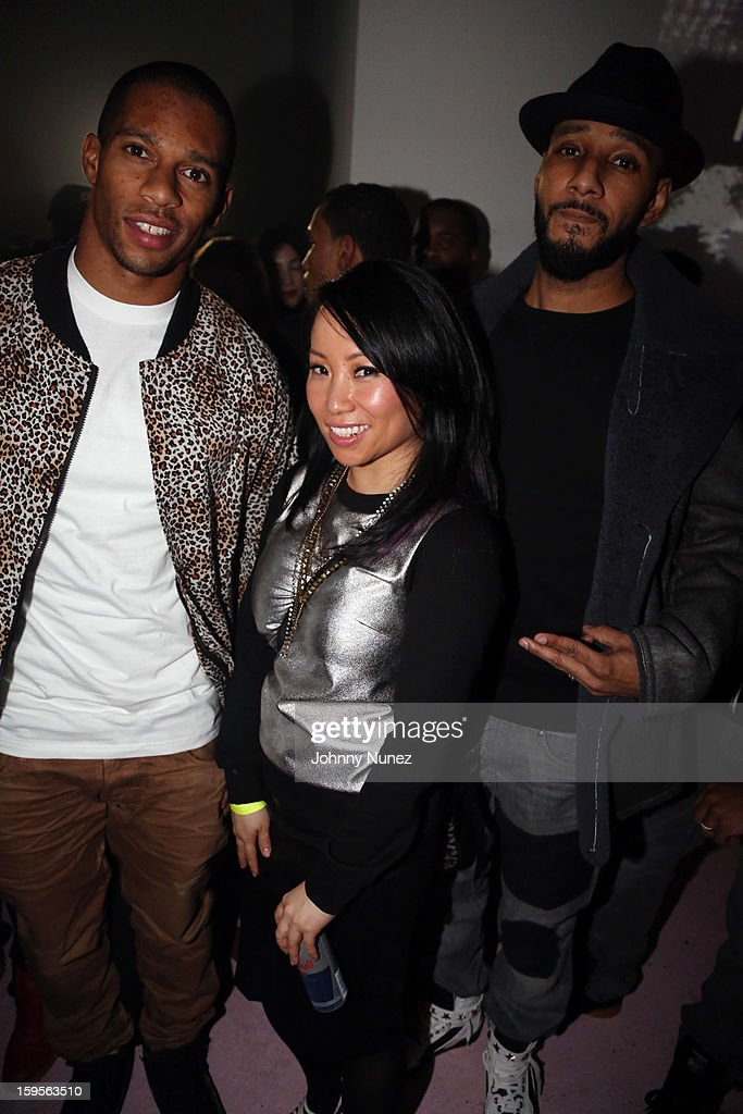 Victor Cruz, Miss Info, and Swizz Beatz attend A$AP Rocky's 'LOVE.LIVE.A$AP' Album Release Party at The Hole on January 15, 2013 in New York City.