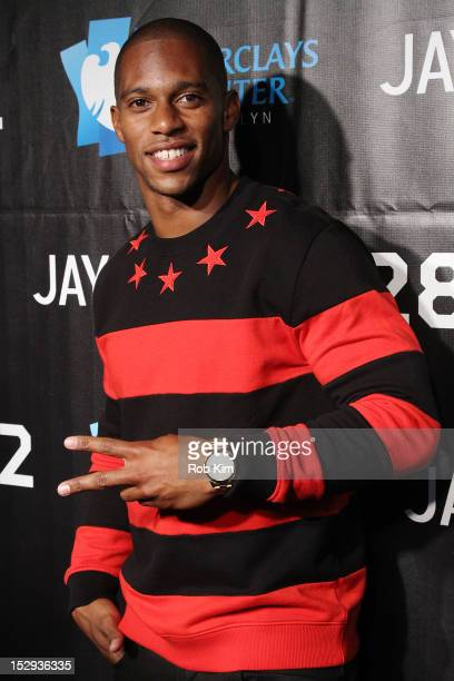 Victor Cruz of the New York Giants attends the official opening of the Barclays arena and JayZ in concert at the Barclays Center on September 28 2012...