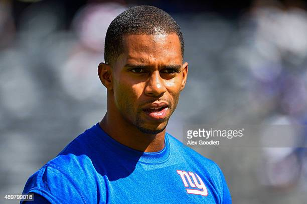 Victor Cruz of the New York Giants looks on before a game against the Atlanta Falcons at MetLife Stadium on September 20 2015 in East Rutherford New...