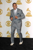 Victor Cruz of The New York Giants poses in the media center at the 54th Annual GRAMMY Awards at Staples Center on February 12 2012 in Los Angeles...