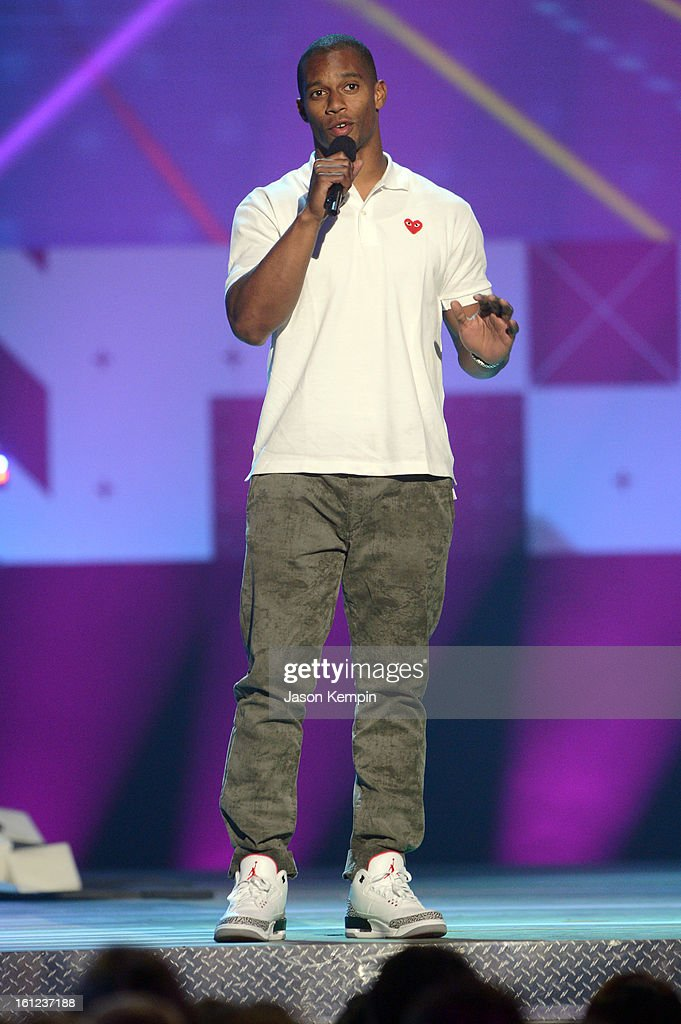 Victor Cruz speaks onstage at the Third Annual Hall of Game Awards hosted by Cartoon Network at Barker Hangar on February 9, 2013 in Santa Monica, California. 23270_003_JK_0861.JPG