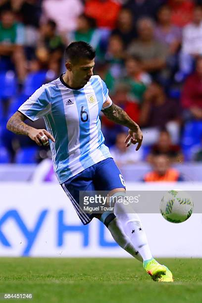 Victor Cuesta of Argentina kicks the ball during an U23 International Friendly between Mexico and Argentina at Cuauhtemoc Stadium on July 28 2016 in...