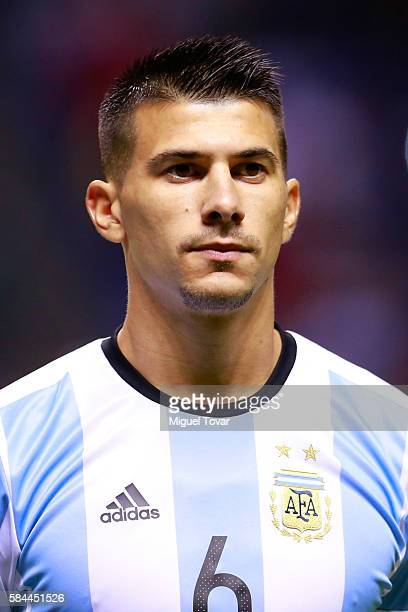 Victor Cuesta of Argentina looks on prior an U23 International Friendly between Mexico and Argentina at Cuauhtemoc Stadium on July 28 2016 in Puebla...