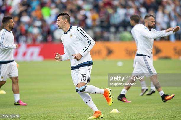 Victor Cuesta of Argentina warms up before a group D match between Argentina and Bolivia at CenturyLink Field as part of Copa America Centenario US...