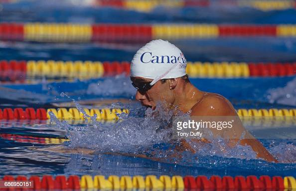 Victor Davis of Canada swims during the Men's 100 metres breastroke event at the V FINA World Swimming Championships on 17 August 1986 at the M86...