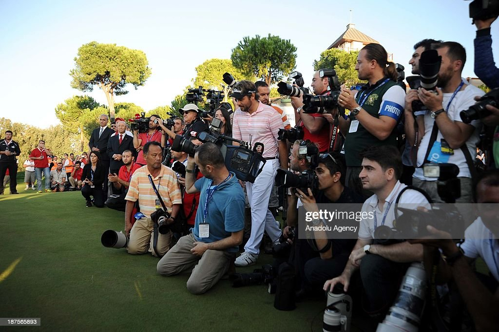 Victor Dubuisson of France arrives for the presentation after winning the final round of the 'Turkish Airlines Open Golf Tournament' of PGA European Tour Final Series on November 10, 2013 in Antalya, Turkey.