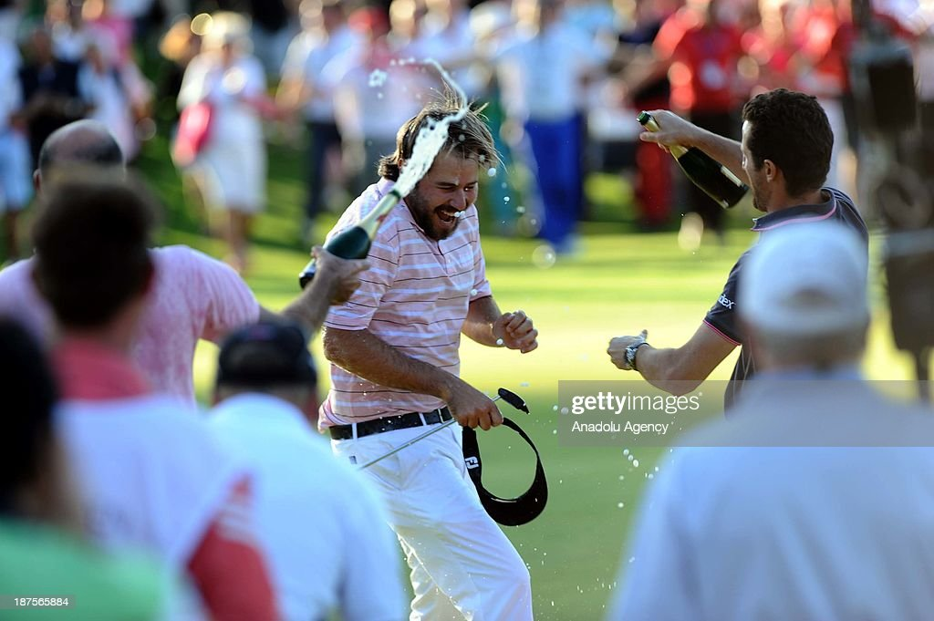 Victor Dubuisson of France celebrates after winning the 'Turkish Airlines Open Golf Tournament' of PGA European Tour Final Series on November 10, 2013 in Antalya, Turkey.