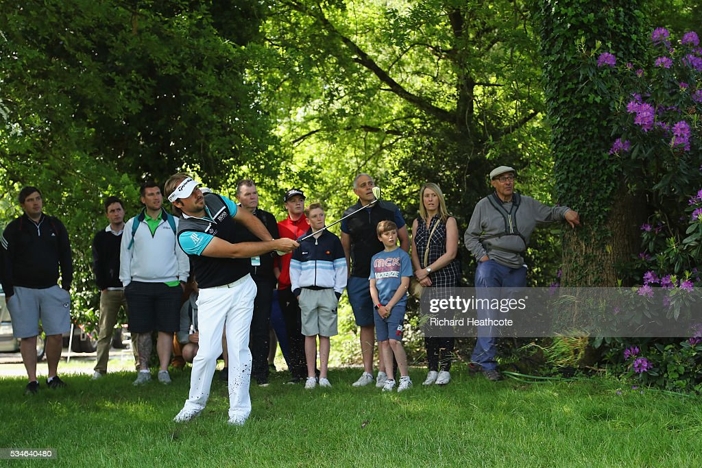 <a gi-track='captionPersonalityLinkClicked' href=/galleries/search?phrase=Victor+Dubuisson&family=editorial&specificpeople=3333395 ng-click='$event.stopPropagation()'>Victor Dubuisson</a> of France hits his 2nd shot on the 6th hole during day two of the BMW PGA Championship at Wentworth on May 27, 2016 in Virginia Water, England.