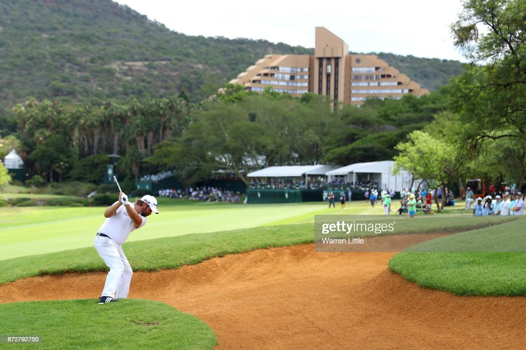 Victor Dubuisson of France hits his second shot on the 9th hole during the third round of the Nedbank Golf Challenge at Gary Player CC on November 11, 2017 in Sun City, South Africa.