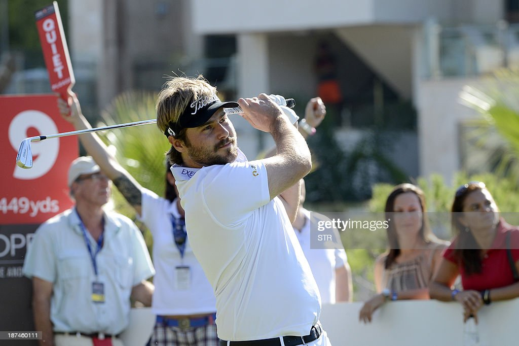 Victor Dubuisson of France hits the ball during the third round of the inaugural Turkish Airlines Open in the south west city of Antalya, on November 9, 2013. The event runs from November 7 until November 10.