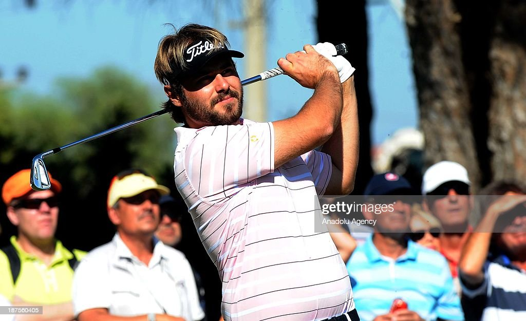 Victor Dubuisson of France hits the ball on the final day of the 'Turkish Airlines Open Golf Tournament' of PGA European Tour Final Series on November 10, 2013 in Antalya, Turkey. Turkish Airlines Open 2013 Golf Tournament held in Belek town of southern Antalya province between November 7 and 10, 2013.
