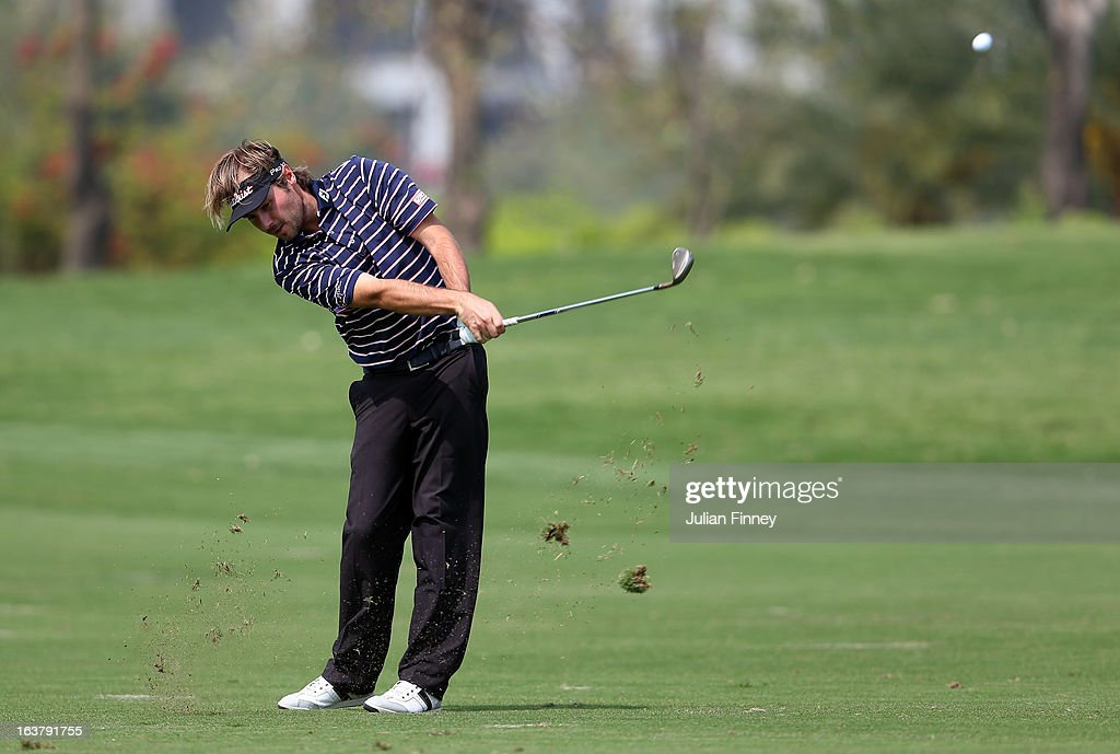 Victor Dubuisson of France in action during day three of the Avantha Masters at Jaypee Greens Golf Club on March 16, 2013 in Delhi, India.