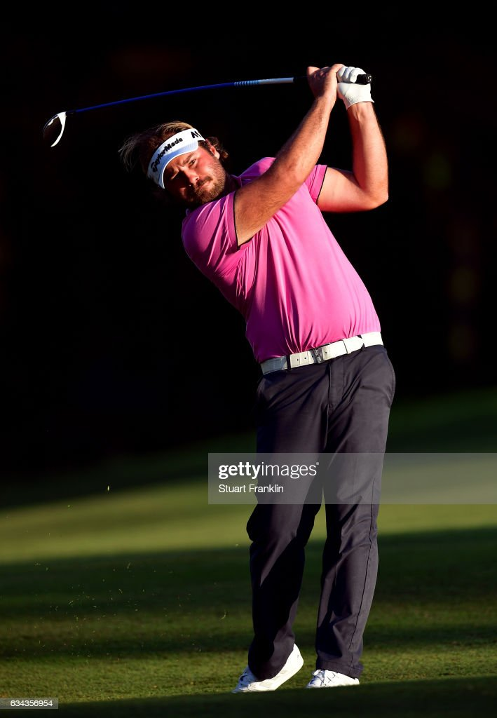 Victor Dubuisson of France plays a shot during Day One of the Maybank Championship Malaysia at Saujana Golf Club on February 9, 2017 in Kuala Lumpur, Malaysia.