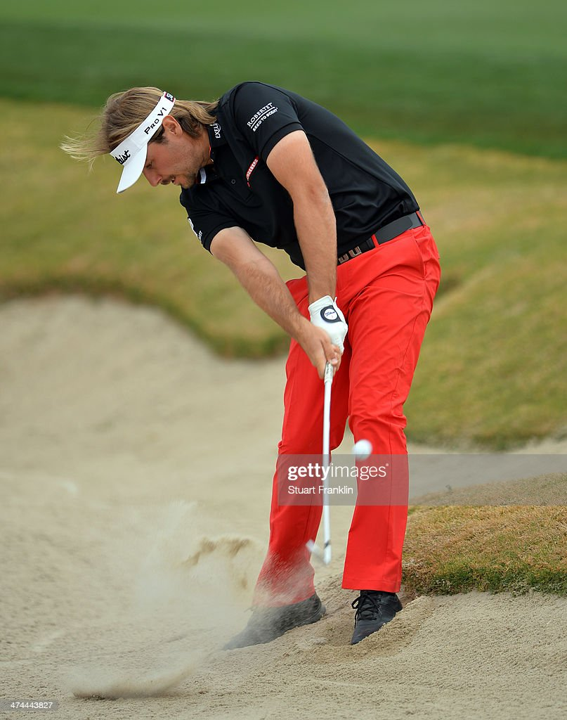Victor Dubuisson of France plays a shot on the 17th hole during the semifinal round of the World Golf Championships Accenture Match Play Championship...