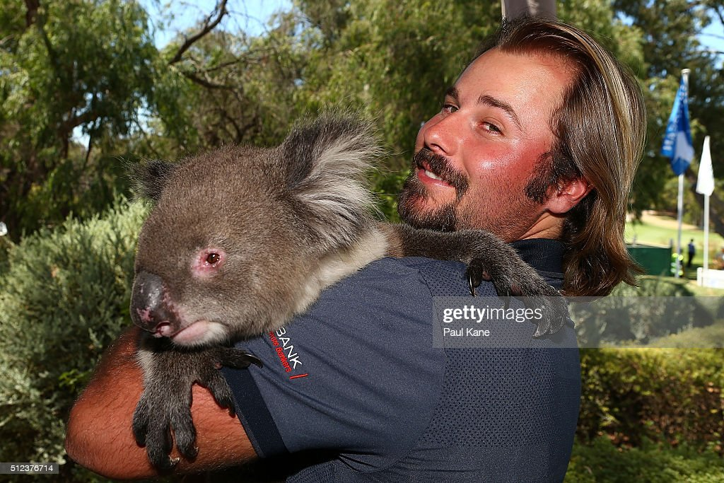 <a gi-track='captionPersonalityLinkClicked' href=/galleries/search?phrase=Victor+Dubuisson&family=editorial&specificpeople=3333395 ng-click='$event.stopPropagation()'>Victor Dubuisson</a> of France poses with Sunshine the koala during day two of the 2016 Perth International at Karrinyup GC on February 26, 2016 in Perth, Australia.