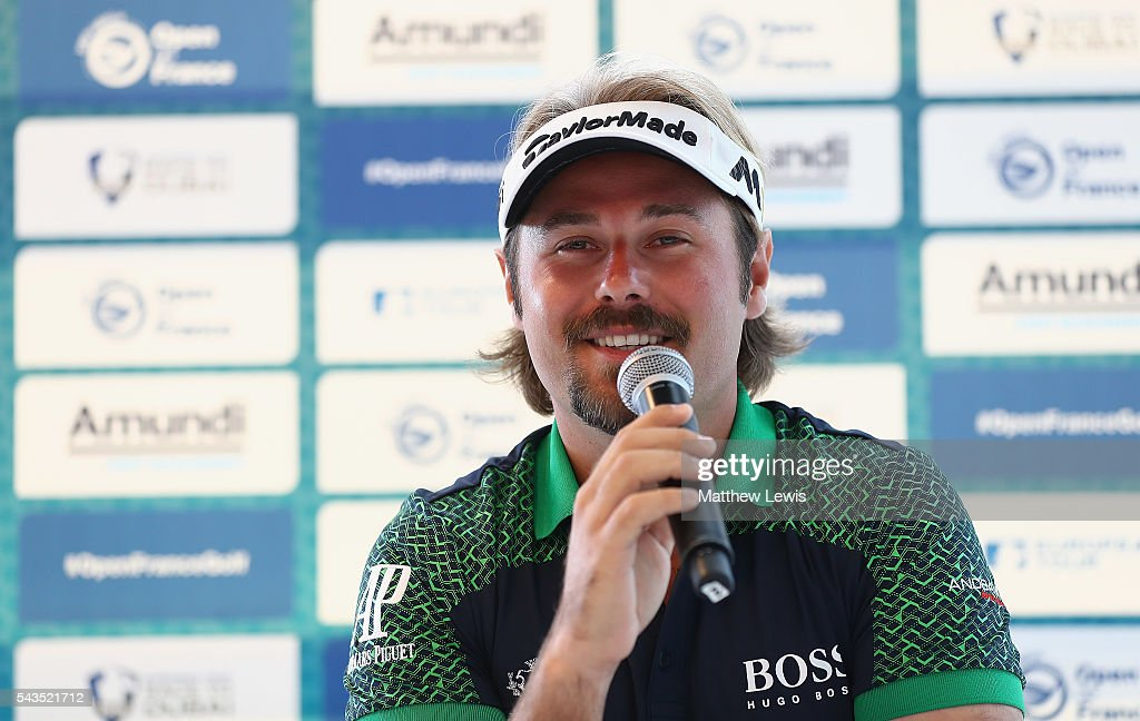 <a gi-track='captionPersonalityLinkClicked' href=/galleries/search?phrase=Victor+Dubuisson&family=editorial&specificpeople=3333395 ng-click='$event.stopPropagation()'>Victor Dubuisson</a> of France talks to media ahead of the 100th Open de France at Le Golf National on June 29, 2016 in Paris, France.