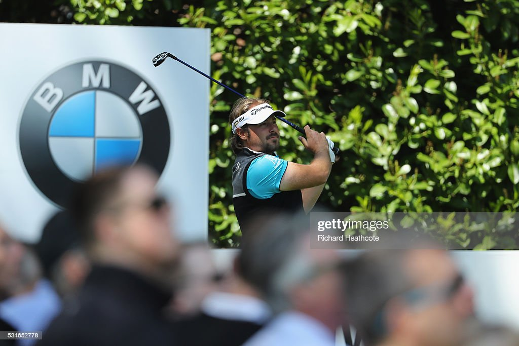 <a gi-track='captionPersonalityLinkClicked' href=/galleries/search?phrase=Victor+Dubuisson&family=editorial&specificpeople=3333395 ng-click='$event.stopPropagation()'>Victor Dubuisson</a> of France tees off on the 16th hole during day two of the BMW PGA Championship at Wentworth on May 27, 2016 in Virginia Water, England.