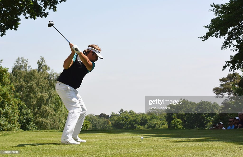 Victor Dubuisson of France tees off on the 17th hole during day two of the BMW PGA Championship at Wentworth on May 27, 2016 in Virginia Water, England.