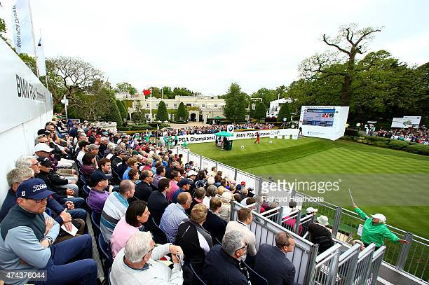 Victor Dubuisson of France tees off on the 1st hole during day 2 of the BMW PGA Championship at Wentworth on May 22 2015 in Virginia Water England
