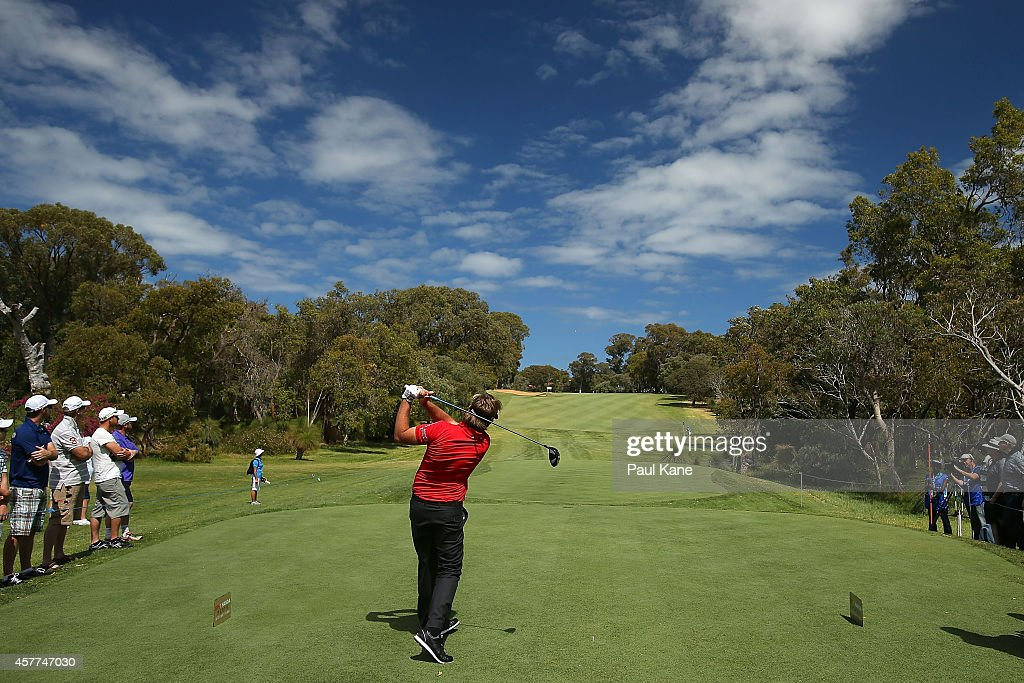 <a gi-track='captionPersonalityLinkClicked' href=/galleries/search?phrase=Victor+Dubuisson&family=editorial&specificpeople=3333395 ng-click='$event.stopPropagation()'>Victor Dubuisson</a> of France tees off on the 6th hole during day two of the Perth International at Lake Karrinyup Country Club on October 24, 2014 in Perth, Australia.