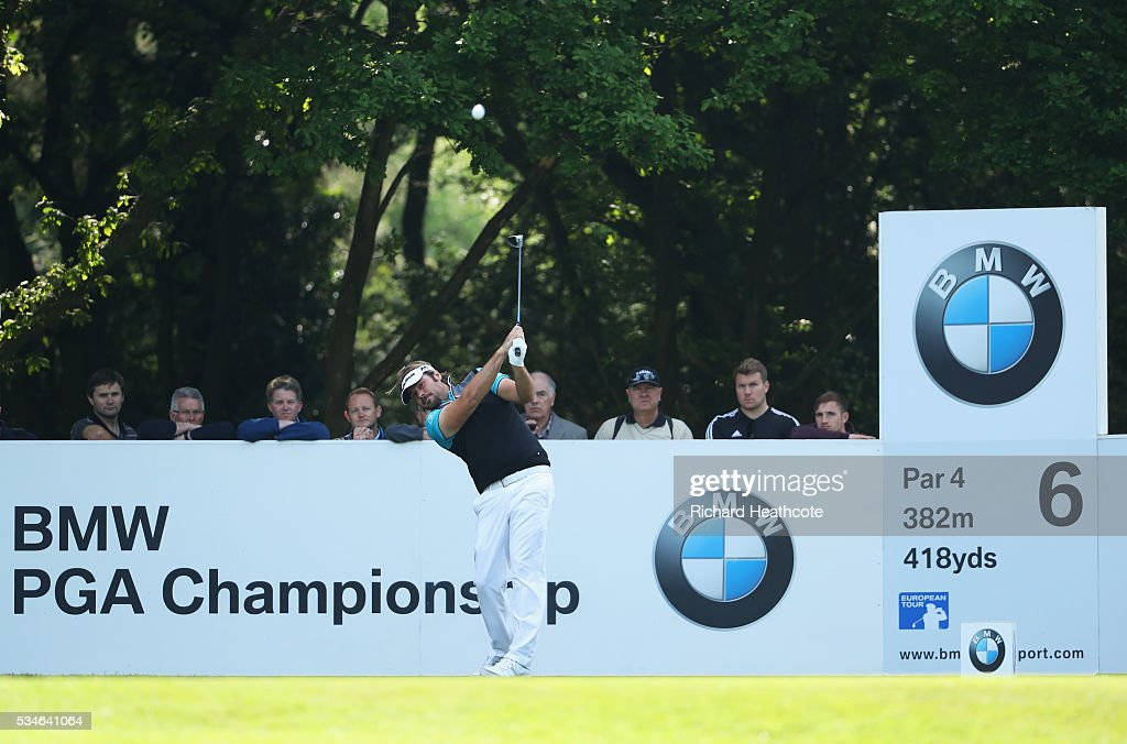 <a gi-track='captionPersonalityLinkClicked' href=/galleries/search?phrase=Victor+Dubuisson&family=editorial&specificpeople=3333395 ng-click='$event.stopPropagation()'>Victor Dubuisson</a> of France tees off on the 6th hole during day two of the BMW PGA Championship at Wentworth on May 27, 2016 in Virginia Water, England.