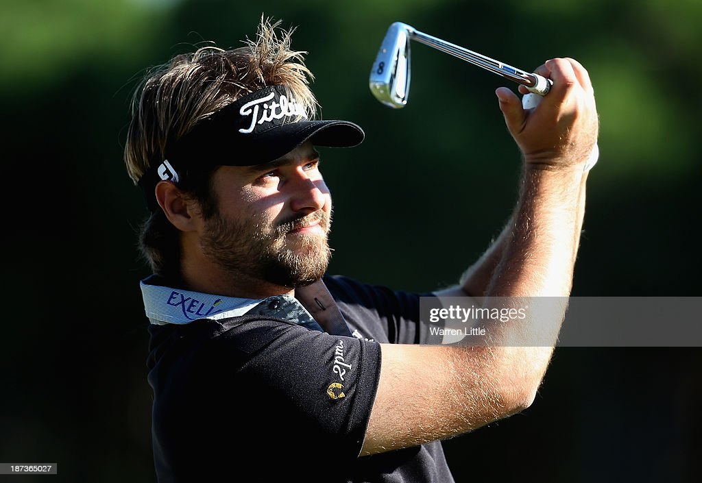 Victor Dubuisson of France tees off on the second hole during the second round of the Turkish Airlines Open at The Montgomerie Maxx Royal Course on November 8, 2013 in Antalya, Turkey.