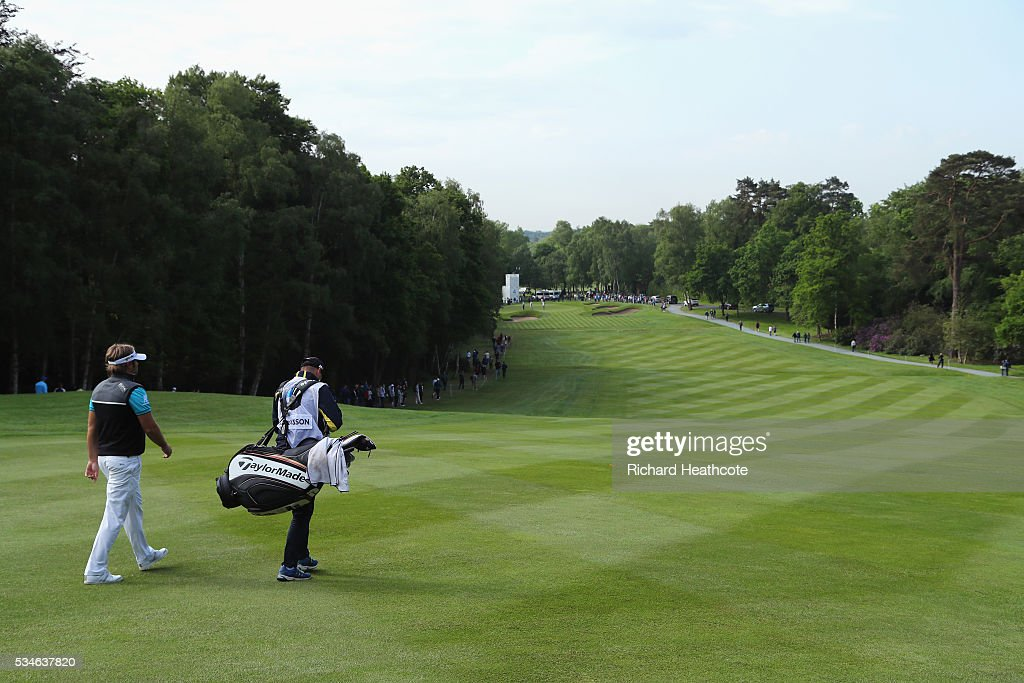 <a gi-track='captionPersonalityLinkClicked' href=/galleries/search?phrase=Victor+Dubuisson&family=editorial&specificpeople=3333395 ng-click='$event.stopPropagation()'>Victor Dubuisson</a> of France walks down the 4th hole during day two of the BMW PGA Championship at Wentworth on May 27, 2016 in Virginia Water, England.