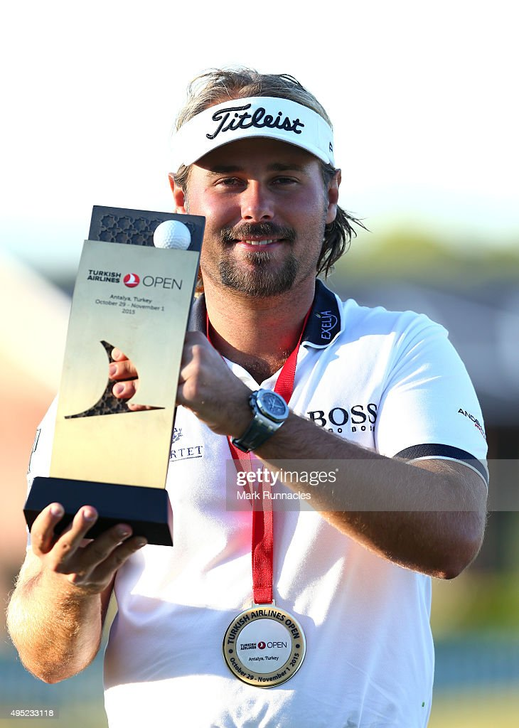 <a gi-track='captionPersonalityLinkClicked' href=/galleries/search?phrase=Victor+Dubuisson&family=editorial&specificpeople=3333395 ng-click='$event.stopPropagation()'>Victor Dubuisson</a> of France winner of the 2015 Turkish Airlines Open with the trophy on the 18th green during the final round of the Turkish Airlines Open at The Montgomerie Maxx Royal Golf Club on November 1, 2015 in Antalya, Turkey.