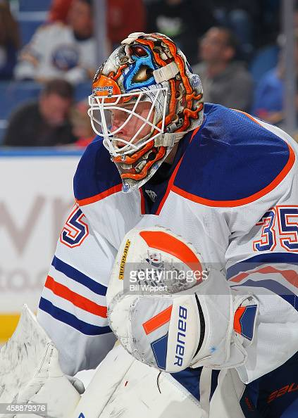 Victor Fasth of the Edmonton Oilers tends goal against the Buffalo Sabres on November 7 2014 at the First Niagara Center in Buffalo New York